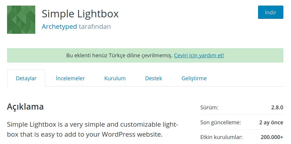 WordPress Resim – Simple Lightbox Eklentisi