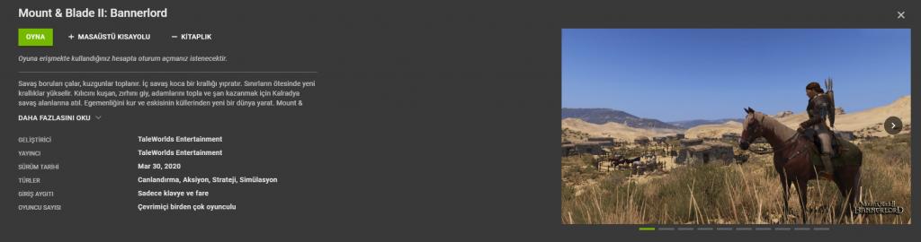 Mount & Blade II: Bannerlord GForce Now Desteği